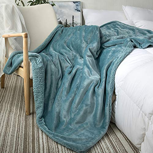 SANJIANG Manta De Lana De Doble Capa Mantas Grandes De Franela Suave para Cama Doble Manta De Microfibra para Sofá para Sillas/Cama/Oficina - Ropa De Cama Exquisita,Blue-1-180 * 200cm