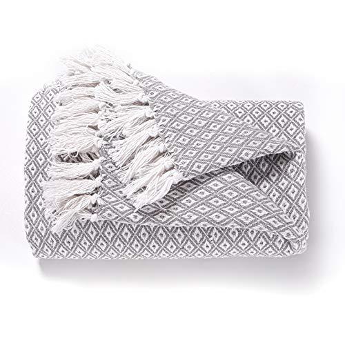 EHC Fundas grandes de algodón súper suave para sofá de 2 plazas o cama doble - Gris