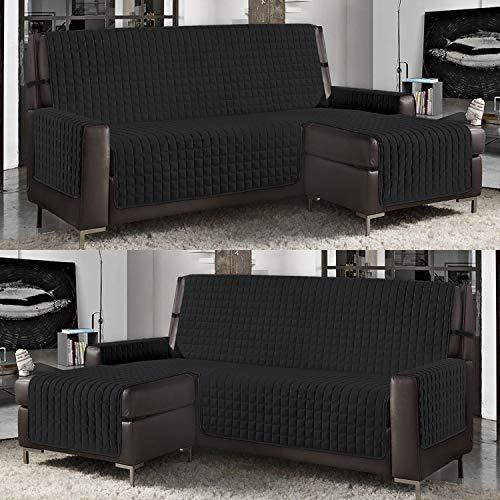 Banzaii Funda de Sofá Cubre Chaise Longue Acolchada Lisa 4 Plazas (290 cm) con Chaise Longue Izquierda/Derecha Negro