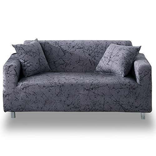 Hotniu Funda Sofa Elasticas 4 Plazas Fundas de Sofa Ajustables Fundas Decorativa para Sofá Estampadas Impresa Cubre Sofa con 1 Funda de Cojín, Modelo #Mgrey