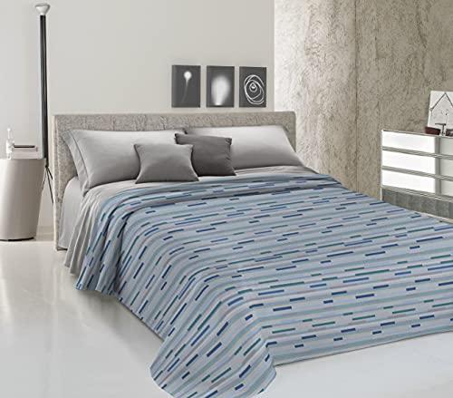 HomeLife Colcha de una plaza y media para primavera y verano de piqué [220 x 280] Made in Italy | Colcha de algodón con estampado a rayas | Colcha de 1 plaza y media ligera | Azul