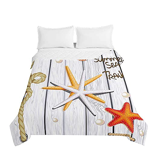 Colcha de Verano Cubrecama Colcha Bouti, Chickwin 3D Estrella de mar Edredón Manta de Dormitorio Suave Ligero Multiuso Colchas para Cama Infantil Individual Matrimonio (Blanco,150x200cm)