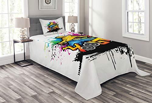 ABAKUHAUS Juventud Cubrecama, Hombre Joven Cultura del Hip Hop Graffiti Bailarín Callejero Colorido Desgastado, Lavable Estampado Digital, 170 x 220 cm, Multicolor