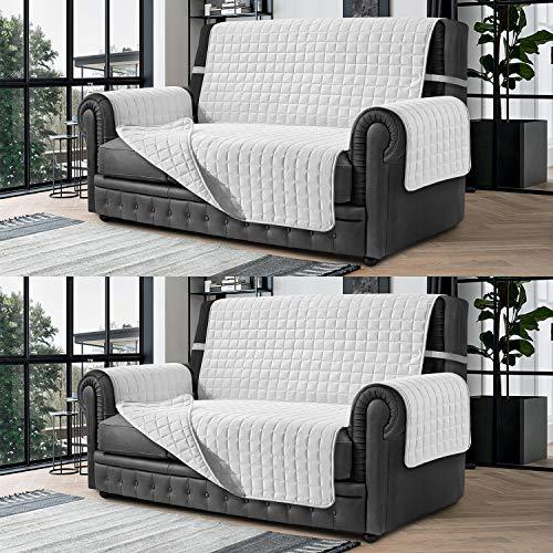 Banzaii Cubre Sofá – Funda Sofá Acolchada Reversible – 3 Plazas Blanco y Blanco para Asiento de 170 a 195 cm