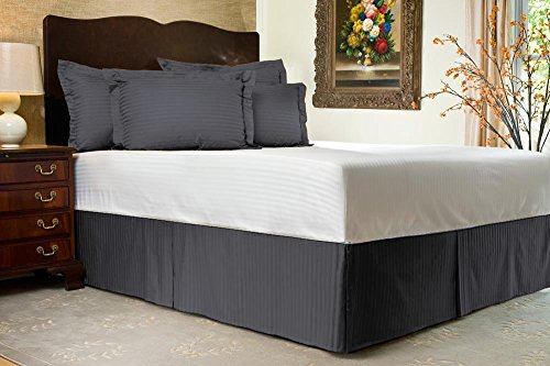 Comodidad beddings 1pieza cubre canapé 16'drop Longitud de 600hilos Euro rey IKEA tamaño 100% algodón egipcio diseño de rayas, Dark Gray, Euro KingIKEA