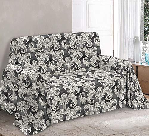 HomeLife - Tela decorativa para sofá de 2 plazas, fabricada en Italia – Sábana multiusos de algodón – Granfoulard colcha cama de matrimonio – Plaid algodón verano [260 x 280 gris]