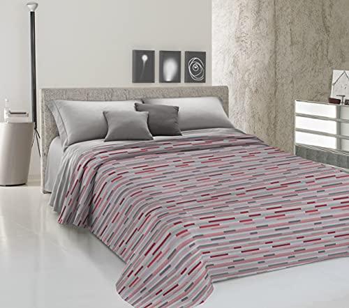 HomeLife Colcha de una plaza y media para primavera y verano de piqué [220 x 280] Made in Italy | Colcha de algodón con estampado a rayas | Colcha de 1 plaza y media ligera | Rojo