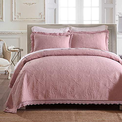 LRQY Elegante Color sólido Floral Bordado Cubrecamas Algodón Cordón Borde Conjuntos de edredones 240 * 260 CM,Pink