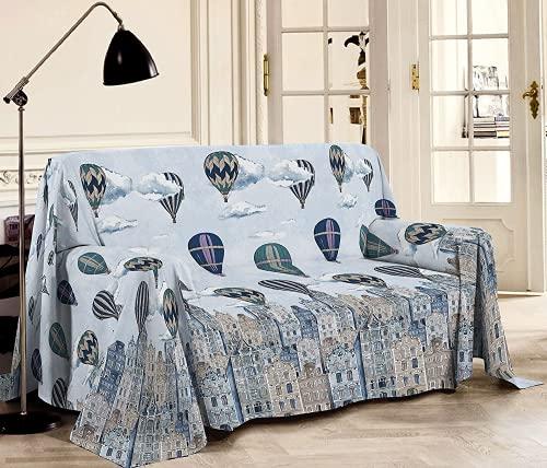 Riad Arredo Tela decorativa para sofá, diseño de globos aerostáticos y ciudades – Sábana multiusos de algodón – Granfoulard colcha para cama – Fabricado en Italia (2 plazas) – 260 x 280...