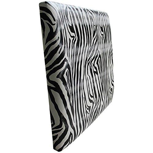 Ventadecolchones - Cabecero Modelo Lisse tapizado en Polipiel Zebra Blanco y Negro Medidas 151 x 70 cm (para Camas de 135 ó 150 cm)
