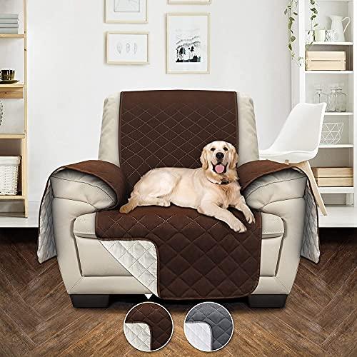 Utopia Bedding Funda Impermeable para sofá con Correas elásticas Ajustables - Protección Antideslizante para Muebles para Mascotas de 1 plazas, Gris/Beige