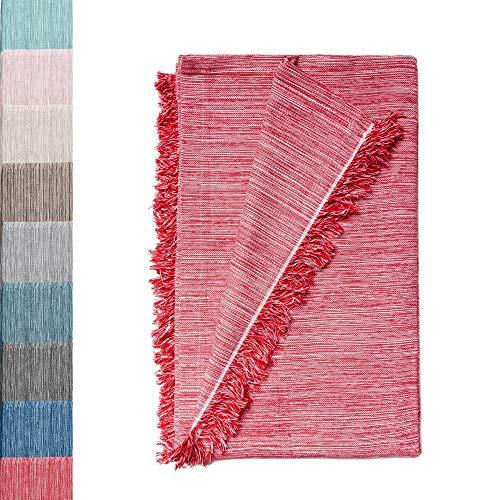 Colcha Multiusos: Plaid Sofa, Manta Foulard, Cubre Cama, Foulard para Sofas de Algodón y Otras Fibras Acabado de Calidad Fabricado en España. (Rojo Jaspeado, 230x260cm.)