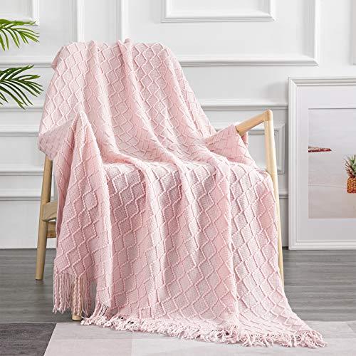 Topfinel Manta de Punto para Sofá o Cama Algodón Diseño Nórdico Cálida Suave con Flecos para Siesta Silla Playa Cubrecama Sobrecama Niño 150x200cm Rosa