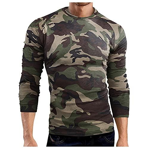 Camiseta de manga larga para hombre, transpirable, deportiva, de camuflaje, ajustada, de manga larga, de secado rápido, B verde, XXXL