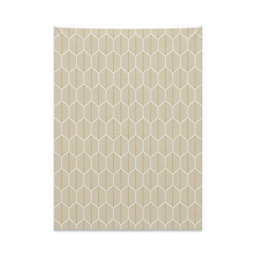 ABAKUHAUS Geométrico Tapiz de Pared y Cubrecama Suave, Secuencia De Nido De Abeja, Material Resistente, 110 x 150 cm, Brown Pálido Y Blanco