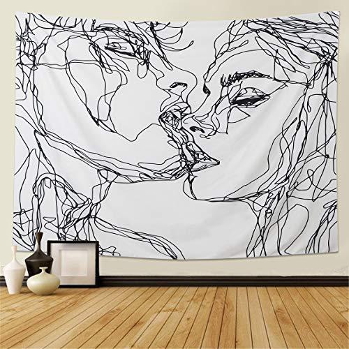 LOMOHOO Hombres Mujeres Soulful Abstract Sketch Arte Colgante de Pared Tapiz Beso Amantes Tapicería Dormitorio Sala de Estar Dormitorio