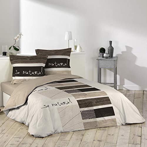 Douceur D'Intérieur So Natural - Juego con funda de edredón y 2 fundas de almohada, algodon, estampado, Multicolor, 240 X 220 cm