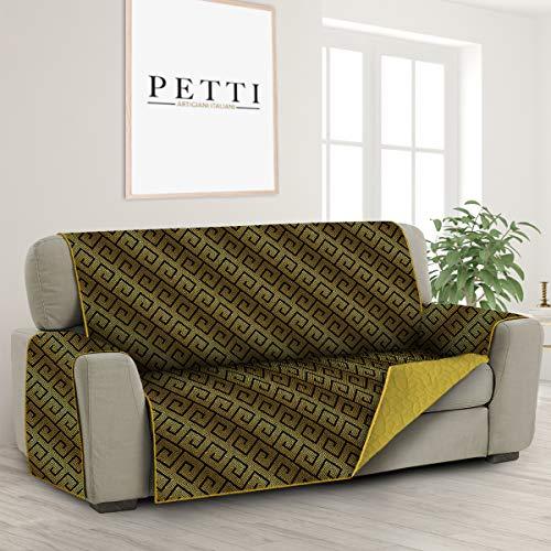 PETTI Artigiani Italiani - Fundas Sofa, Funda Sofa 2 Plaza, Funda de Sofa Reversible, Cubre Sofas, Funda de Sofa y Funda de Sillon, 100% Made in Italy, Sol Amarillo Azteca