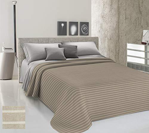 HomeLife Colcha de una plaza y media para primavera y verano teñida de hilo [220 x 290 cm] Made in Italy | Manta de cama a rayas de algodón | Colcha de 1 plaza y media ligera | 1,5 P beige