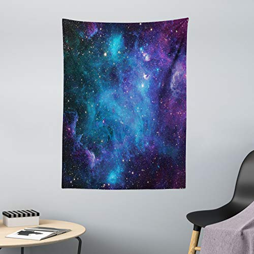 ABAKUHAUS Espacio Exterior Tapiz de Pared y Cubrecama Suave, Galaxia Estrellas Espacio Celestial Astronómico Planetas Universo Vía Láctea, Decoración para el Cuarto, 110 x 150 cm, Púrpura