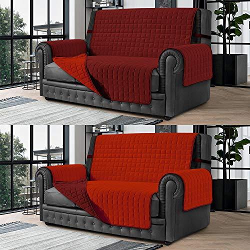 Banzaii Cubre Sofá – Funda Sofá Acolchada Reversible – 3 Plazas Burdeos y Rojo para Asiento de 170 a 195 cm