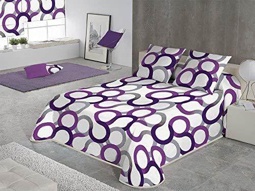 SABANALIA - Colcha Estampada Aros (Disponible en Varios tamaños y Colores), Cama 90-180 x 280, Color Lila