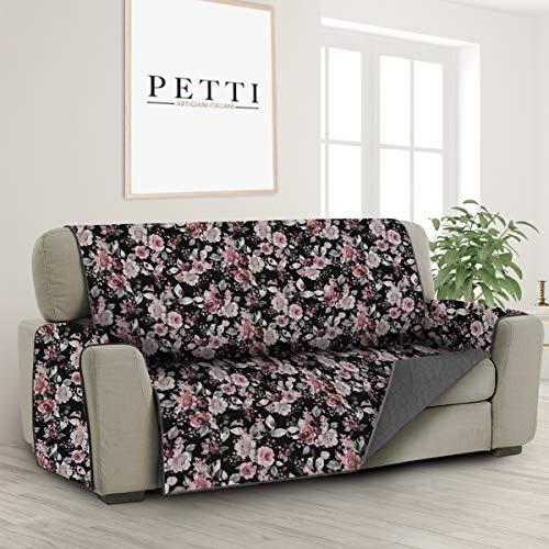 PETTI Artigiani Italiani - Fundas Sofa, Funda Sofa 1 Plaza, Funda de Sofa Reversible, Cubre Sofas, Funda de Sofa y Funda de Sillon, 100% Made in Italy, Flores Negras