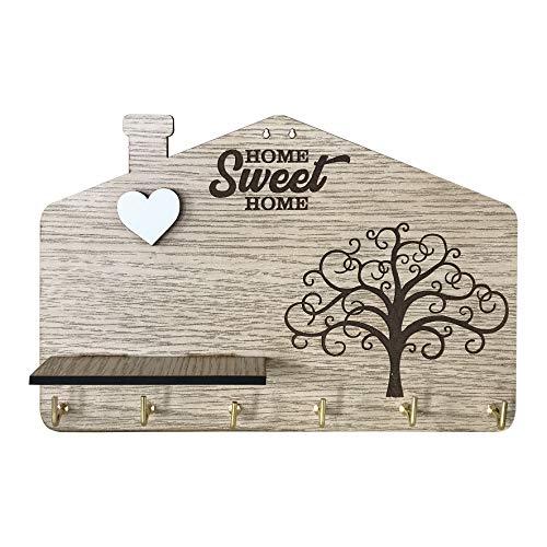 Portallaves de pared fabricado con tablero de fibra de densidad media (DM) con el texto «Home Sweet Home», grabado del árbol de la vida, corazón blanco en relieve y repisa, 6 ganchos, color madera