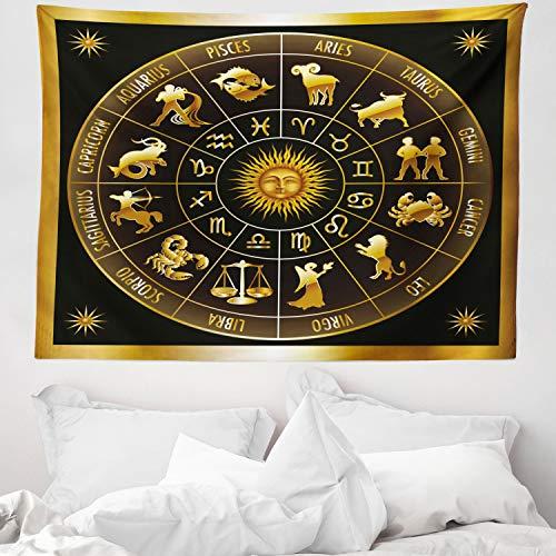 ABAKUHAUS Astrología Tapiz de Pared y Cubrecama Suave, Rueda del Zodíaco Astrología Signos en Círculo Sol y Luna Imagen, Material Resistente, 150 x 110 cm, Verde Bosque Oscuro