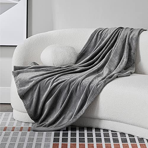 Bedsure Manta Sofa Grande Invierno - Manta Cama 90 de Franela Extra Suave, Mantas 150x200 cm Cubre Sofas, Gris