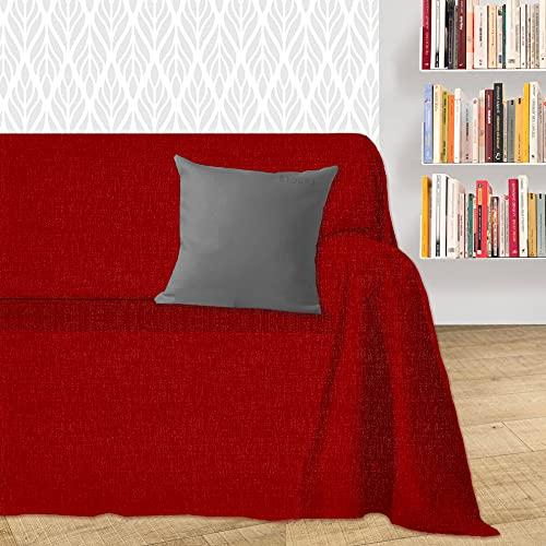 Byour3® Funda De Sofá Algodón 1 2 3 4 Plazas Ligero Granfoulard Tela Sofa Cubre Todo Protector De Sofás Forma de L U Chaise Longue Derecho Izquierdo Lavable (Rojo Dakar, 3 plazas)