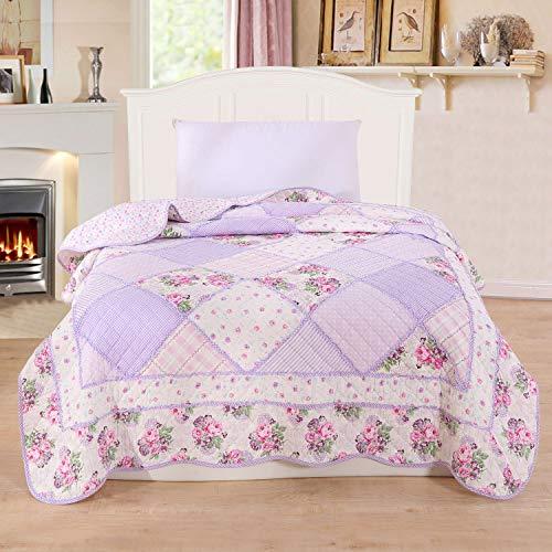 Alicemall - Colcha de verano para cama individual con diseño tipo patchwork 150 * 200 cm, algodón, Pattern 3, suelto