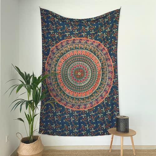 MOMOMUS Tapiz Mandala Indio - 100% Algodón, Grande, Multiuso - Tapices de Pared Decorativos Ideales para la Decoración del Hogar, Habitación o Salón - Azul B, 135x210 cm