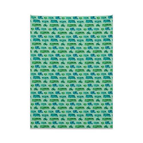 ABAKUHAUS Camper Tapiz de Pared y Cubrecama Suave, Plazas Y Caravanas, Resistente a la Suciedad, 110 x 150 cm, Verde Menta Verde Y Azul