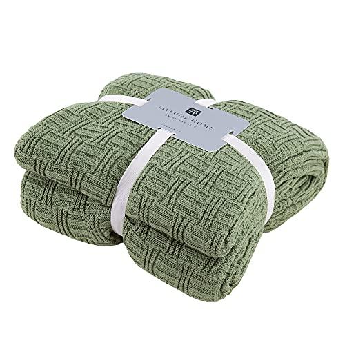 MYLUNE HOME Elegante manta de punto 100% algodón para ver la televisión o tomar un capazo en la silla, sofá y cama (180 x 200 cm), color verde claro