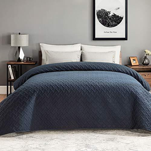 Bedsure Colcha Verano Cama 90 Azul Marino - Colcha Bouti de Primavera y Entretiempo Reverisible, Cubrecama Fina 180x280cm