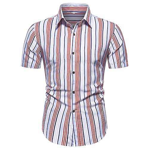 YUTING Camisa de verano de manga corta para hombre, estilo informal, estampada, corte ajustado, camiseta de manga corta A_rojo. XL