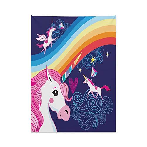 ABAKUHAUS Unicornio Tapiz de Pared y Cubrecama Suave, Animales Míticos En El Cielo, Material Resistente, 110 x 150 cm, Multicolor