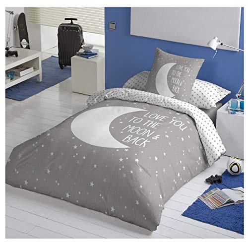 COTTON ARTean Funda Nordica Reversible Moon Grey Cama de 105 ALGODÓN 100%