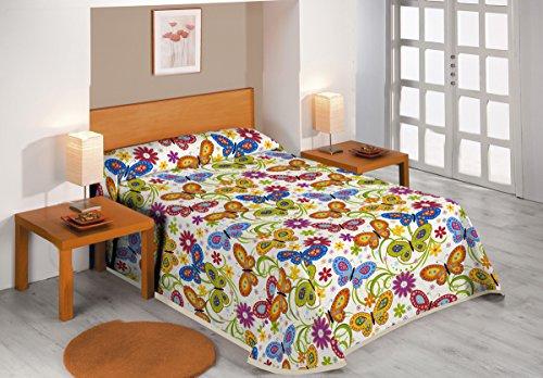 SABANALIA - Colcha Estampada Butterflies (Disponible en Varios tamaños) - Cama 90-180 x 280