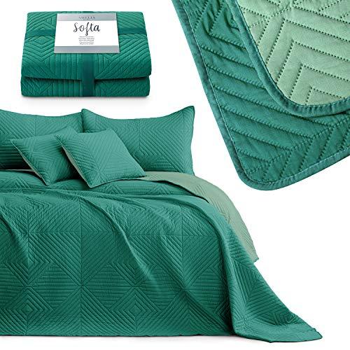 AmeliaHome Colcha de cama, color verde claro y verde oscuro, 170 x 210 cm, reversible, ultrasónico, pespunte de poliéster Softa