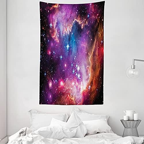 ABAKUHAUS Galaxia Tapiz de Pared y Cubrecama Suave, Constelación de Magallanes Estrellas Patrón Universo Cosmos Colorido Fantástico, Objeto Decorativo Lavable, 140 x 230 cm, Naranja