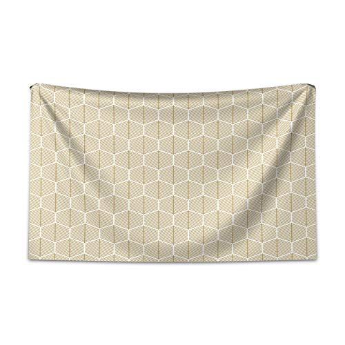 ABAKUHAUS Geométrico Tapiz de Pared y Cubrecama Suave, Secuencia De Nido De Abeja, Fácil de Lavar No Destiñe, 230 x 140 cm, Brown Pálido Y Blanco