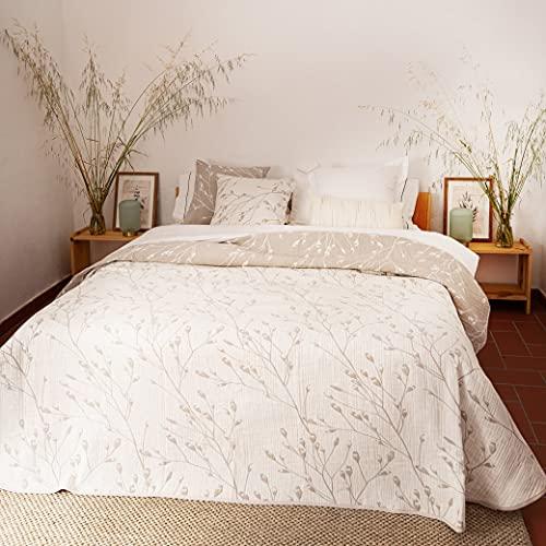 LA MALLORQUINA Colcha de Piqué - Malia (Cama 150 o 160cm - 250x260 cm - Crudo) | Colchas de Lujo y Diseño de Algodón