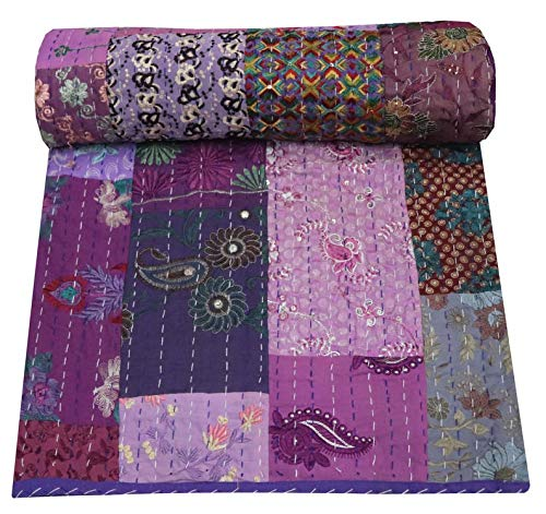 Charoli Enterprises Colcha india de algodón con retazos de gran tamaño, hecha a mano, bohemia, colcha decorativa, manta de doble tamaño