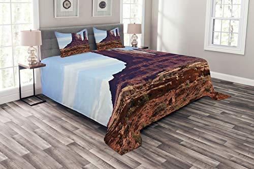 ABAKUHAUS Paisaje Cubrecama, Gran Cañón del acantilado, Colores Nítidos Durables De Fácil Limpieza Material con Peso, 264 x 220 cm, marrón