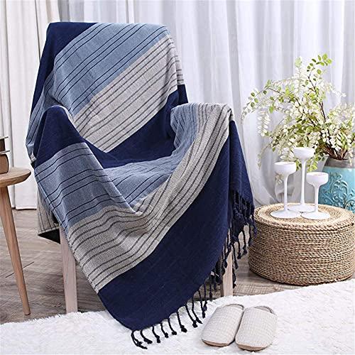 FGVBC Toalla de sofá de Rayas Azules, Manta de Hilo de sofá Decorativa de Punto de algodón para Camas Manta de línea con borlas y cubrecama, 150190CM