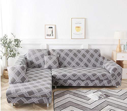 ARTEZXX Funda elástica para sofá de 1/2/3/4 plazas Gris Oscuro Cubierta Antideslizante en Tejido elástico Extensible Protector de sofá Impresión Completa Cobertura Completa 3 plazas: 190-230 cm