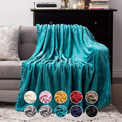 MIULEE Manta Blanket Terciopelo Grande para Sófas Mantilla de Franela para Siesta Suave Manta para Cama Ligera y Cálida Felpa para Mascota Cama Habitacion Dormitorio 1 Pieza 125x150cm Agua Verde
