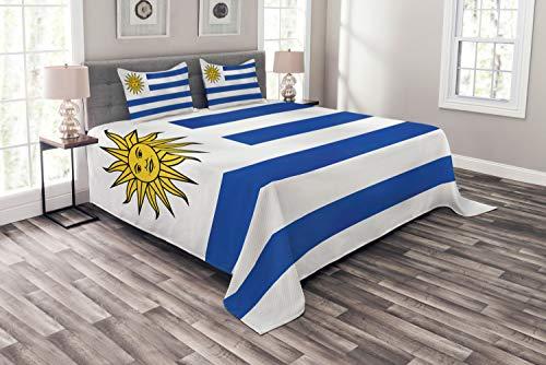 ABAKUHAUS Uruguay Cubrecama, Rayas Simples y Bandera del Sol, Colores y Estampa Digital No Destiñe Apto Lavadora y Secadora, 220 x 220 cm, Cobalto Azul Blanco